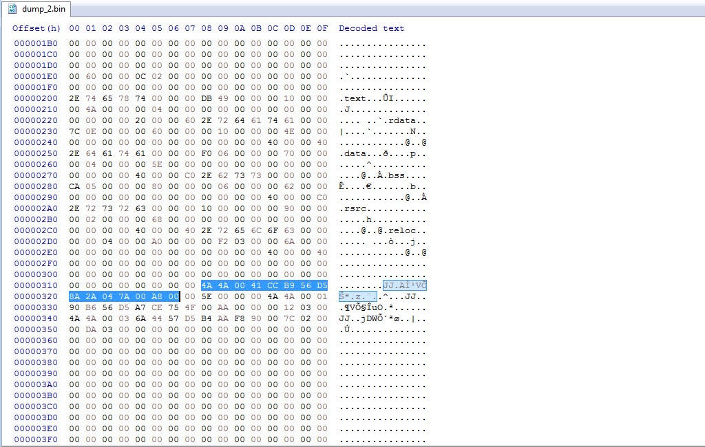 image of hex dump
