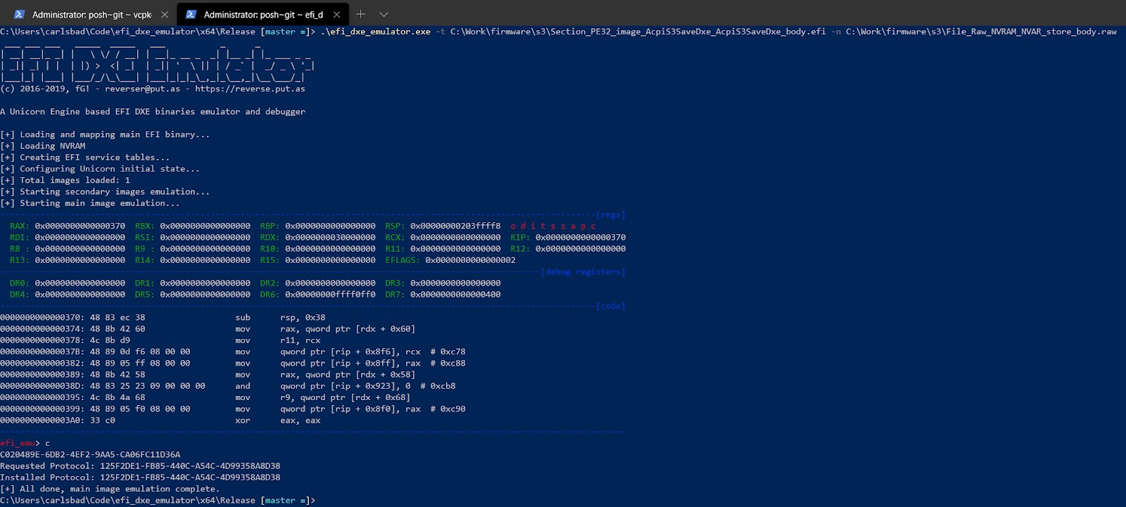 Figure 11 - the Windows port of efi_dxe_emulator in action
