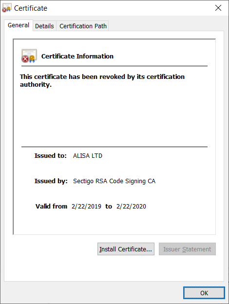 Image of malware signing certificate
