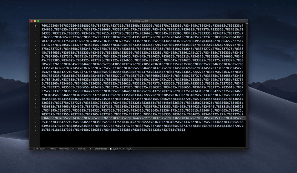 image of script obfuscated by hex