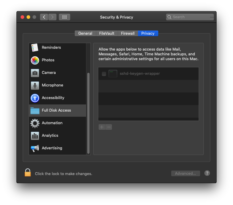 The same screenshot image of Mojave's security & privacy full disk access folder displaying sshd-keygen-wrapper in the list of items without it being checked