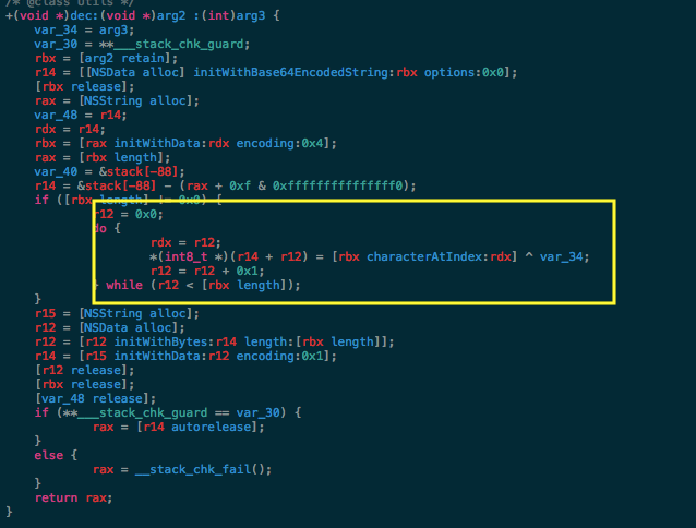 A screenshot image of Hopper's source code displaying the pseudo-code for the decryption method