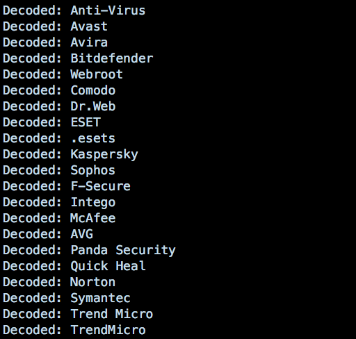 A screenshot image of Legacy AntiVirus software displaying a list of de-obfuscated base64 strings