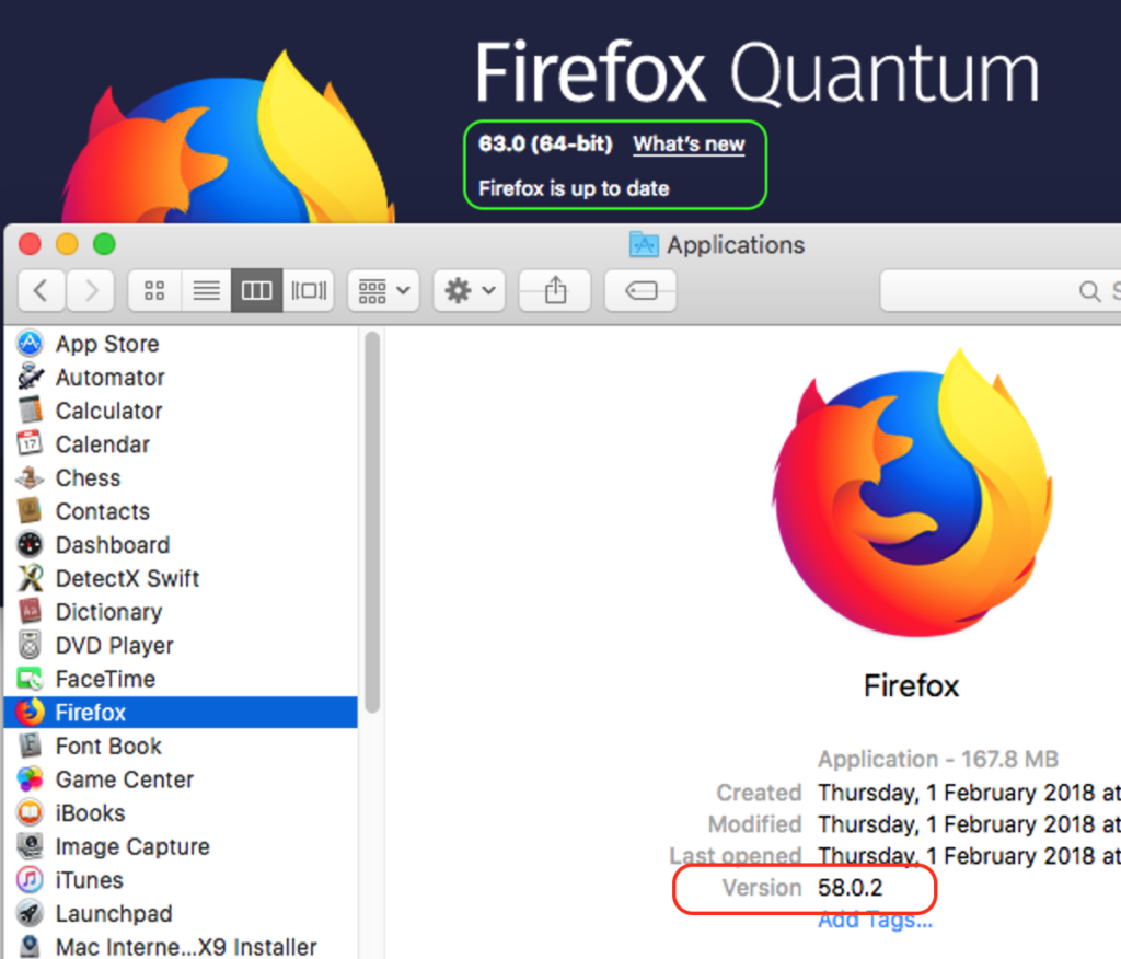 "Screenshot image of FireFox Quantum infected by the ""CreativeUpdate"" malware giving the illusion of it appearing to be up-to-date."