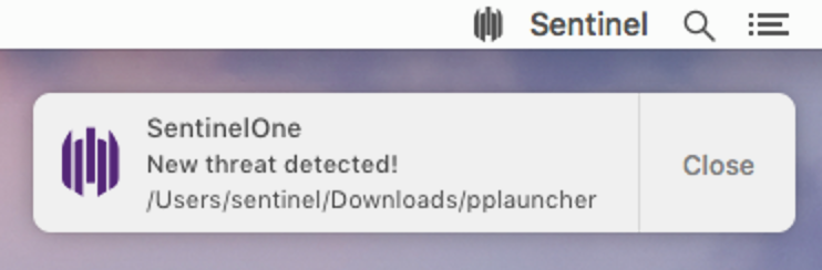 A screenshot image of SentinelOne's agent notification pop up and detecting the OSX.ppminer malware.