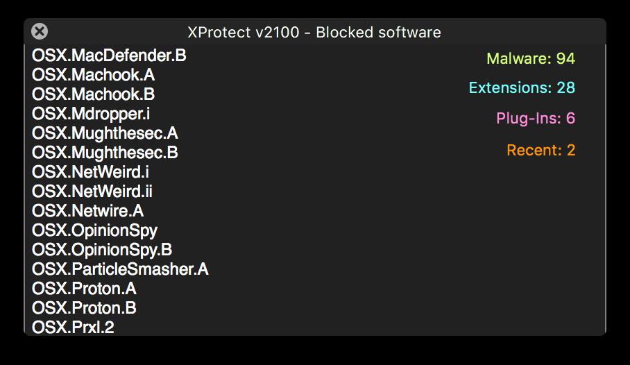 XProtect malware signatures