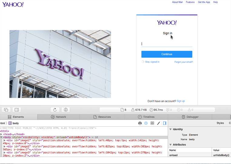 Screenshot image of a fake Yahoo