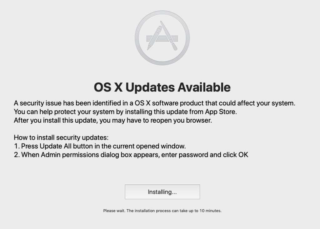 Screenshot of fake App Store Updates