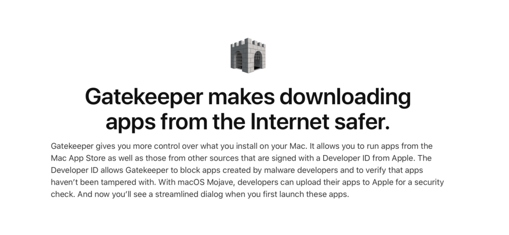 A screenshot image of Apple's Gatekeeper policy