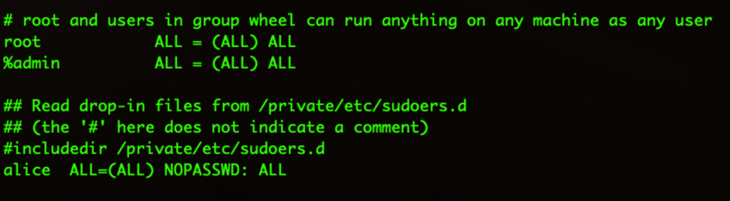 Screenshot of modifying the sudoers file