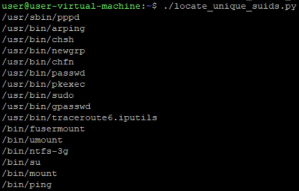 A screenshot of locating unique suids
