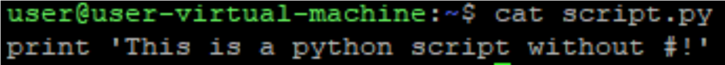 Image of Python script no shebang
