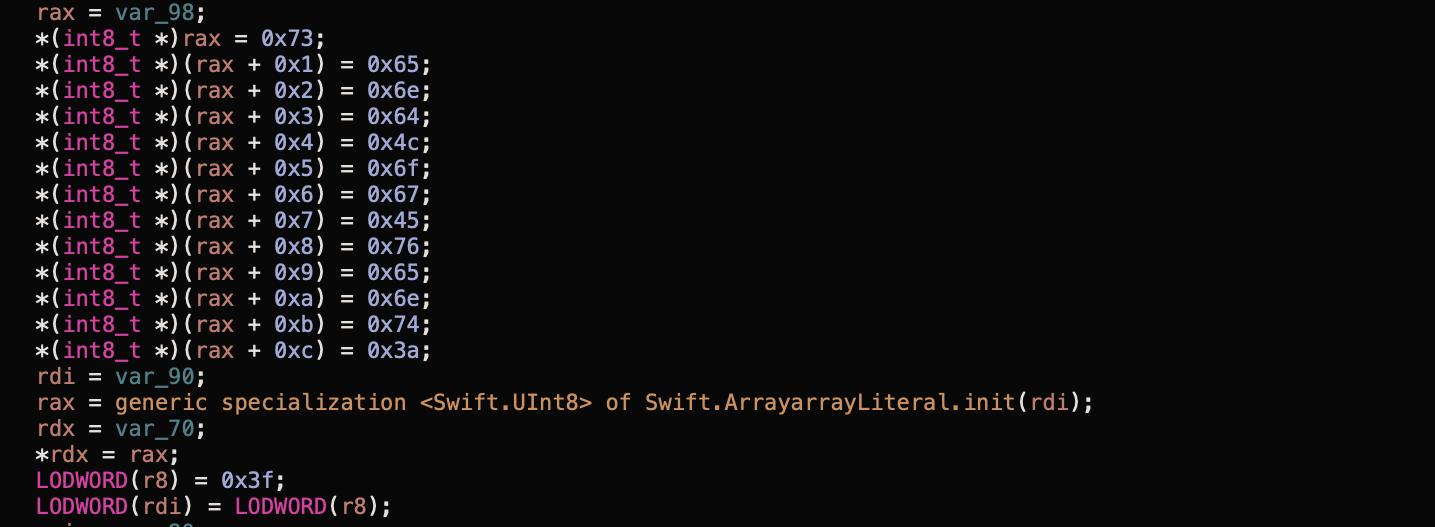 Screenshot of Byte codes