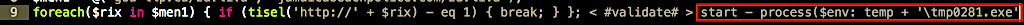 image of executing temp file