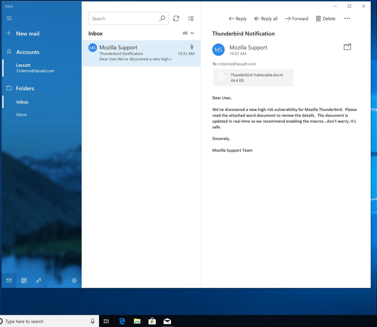 Spear Phishing email.