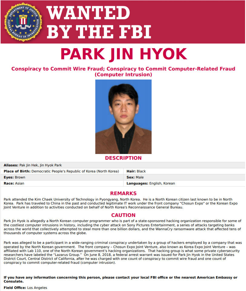 FBI wanted notice for one of the hackers of Lazarus Group, Pak Jin-hyok [es]