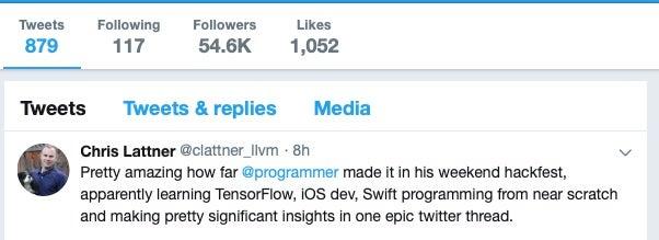 image of Chris Lattner on Twitter