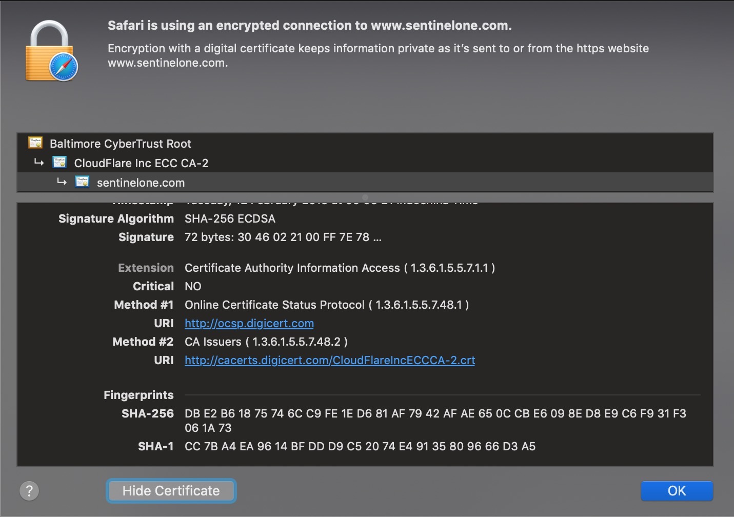 image of ssl certificate hash