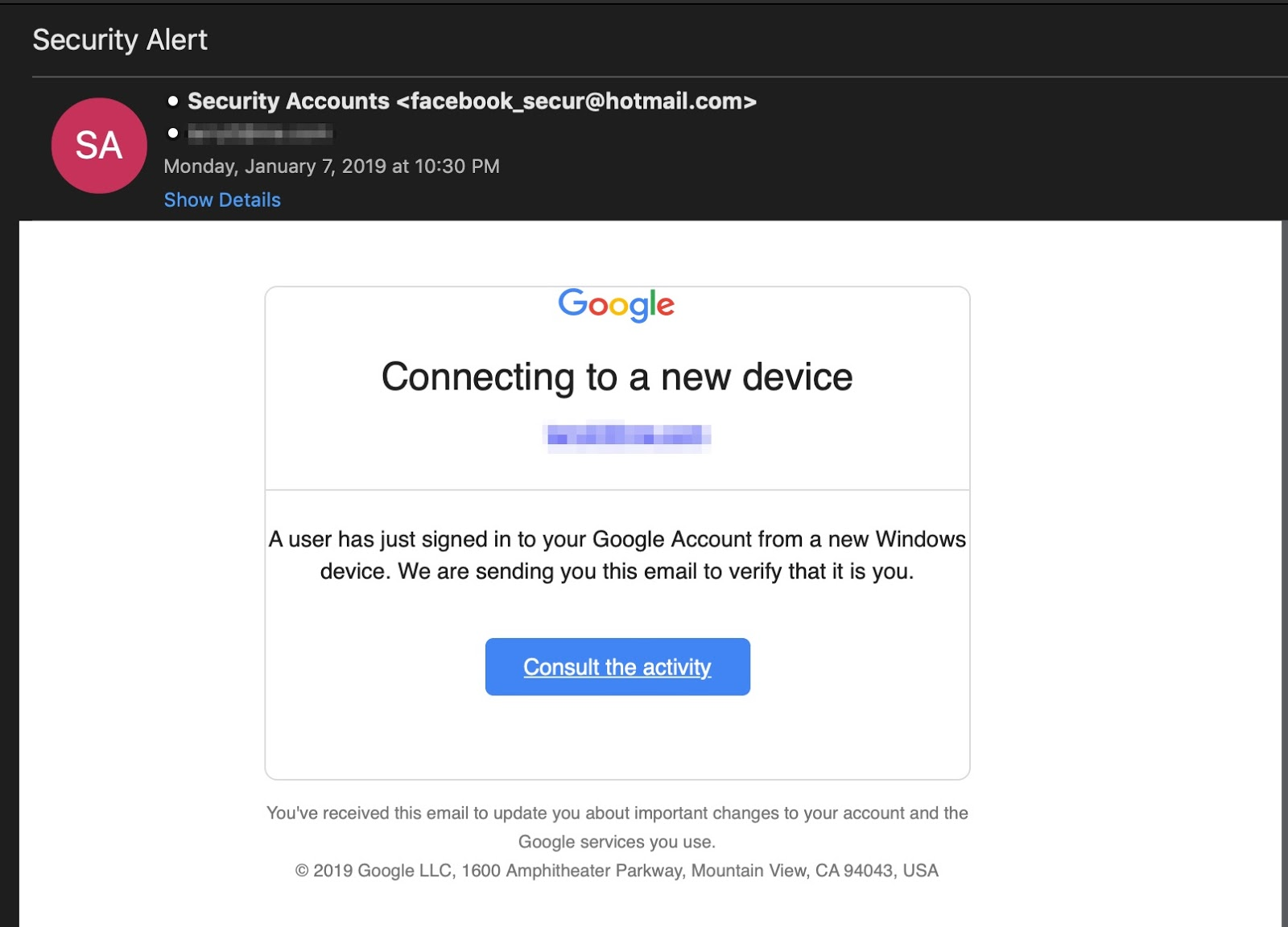 image of phishing email