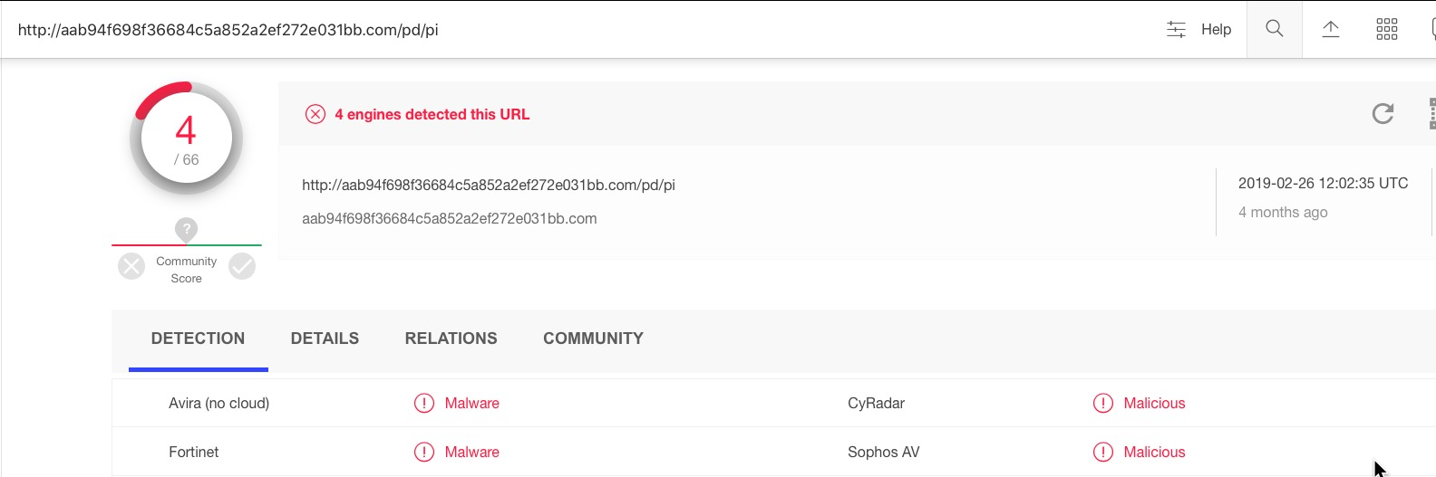 image of malicious url