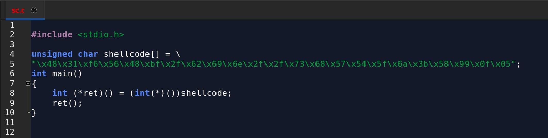 image of shellcode example