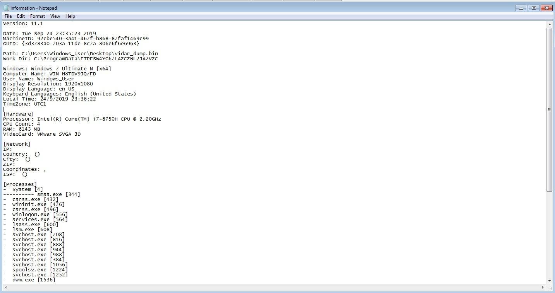 image of Vidar info stealer 7