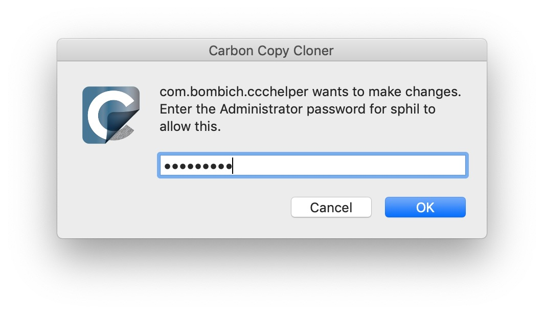 image of carbon copy cloner spoof dialog