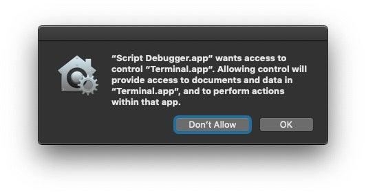 image of terminal app dialog