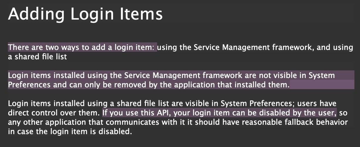 image of login item documentation