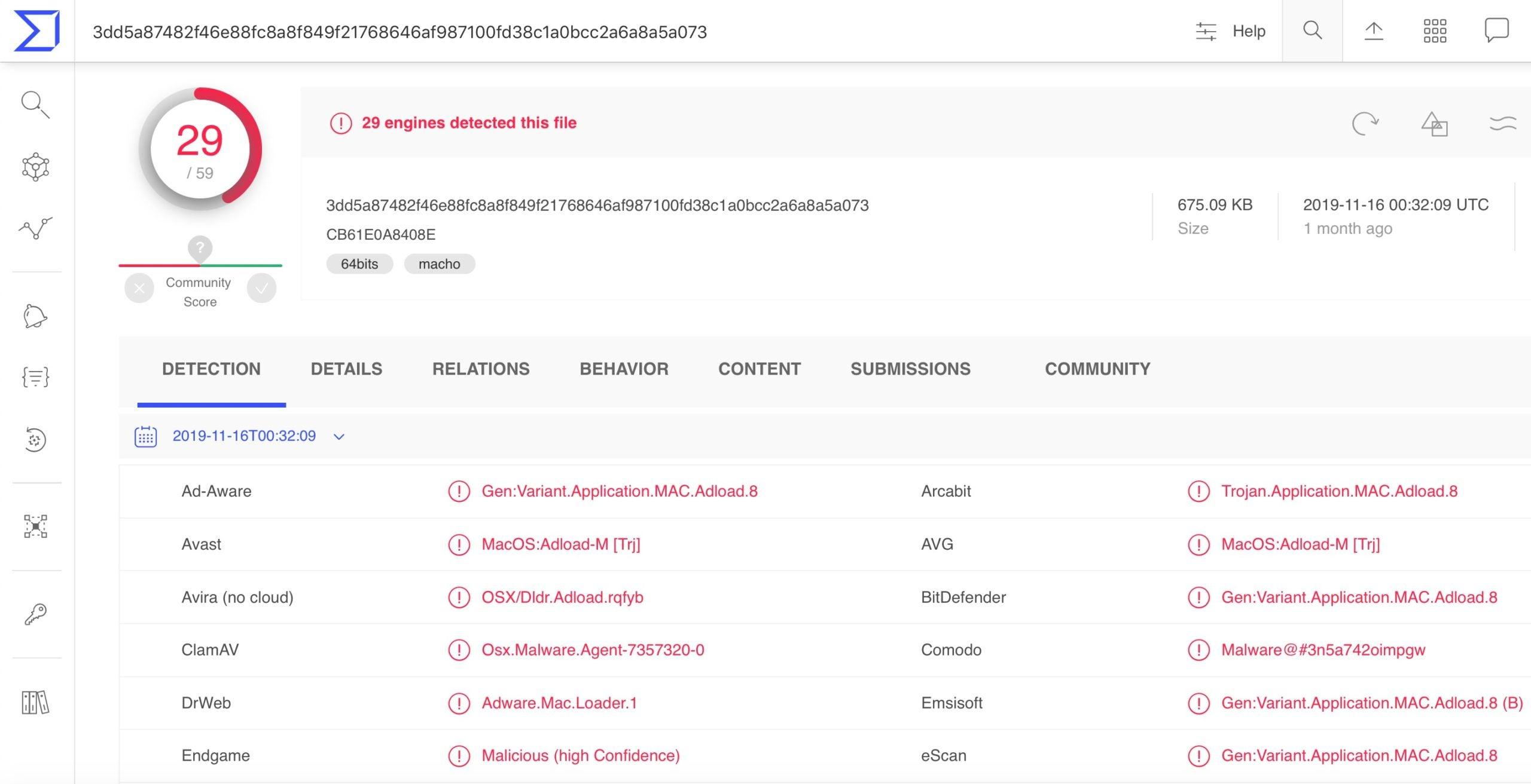 image of osx tarmac on virustotal