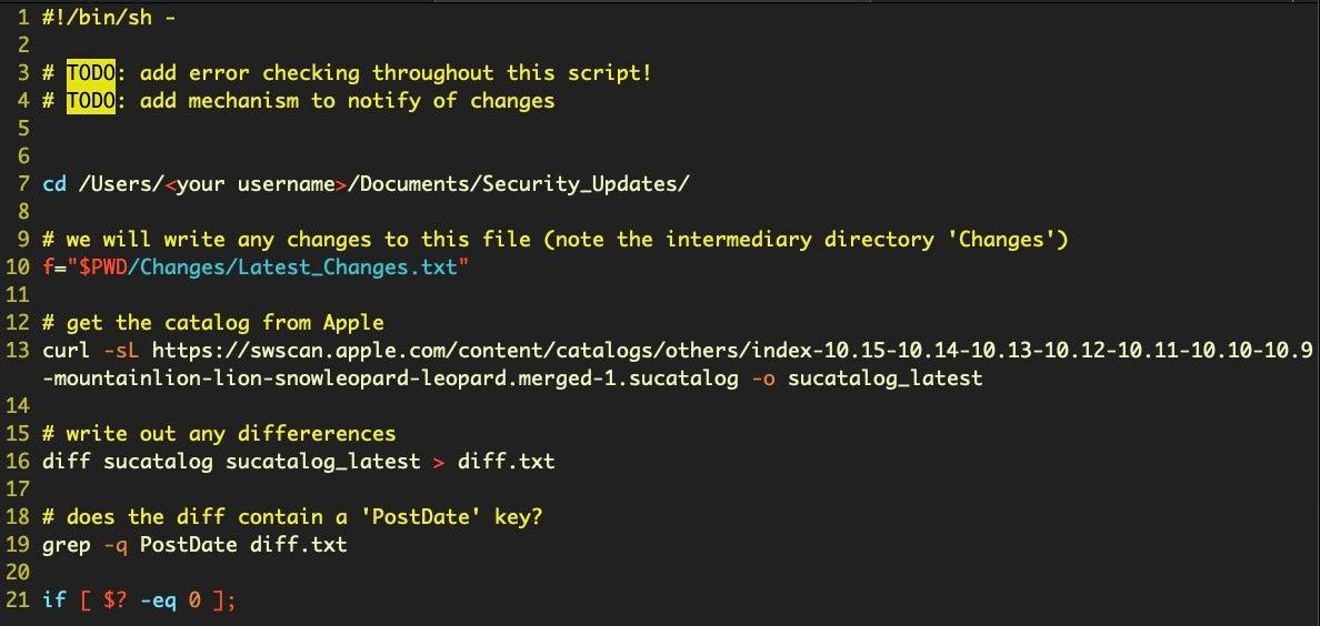 image of bash script start