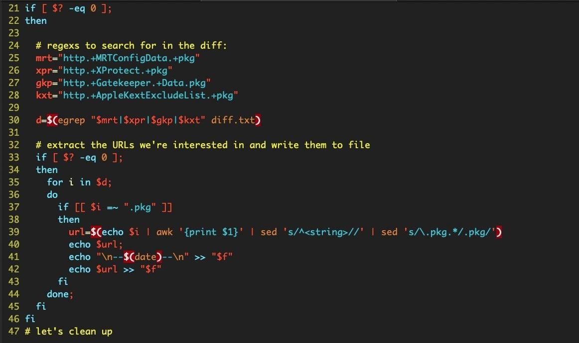 image of bash script middle