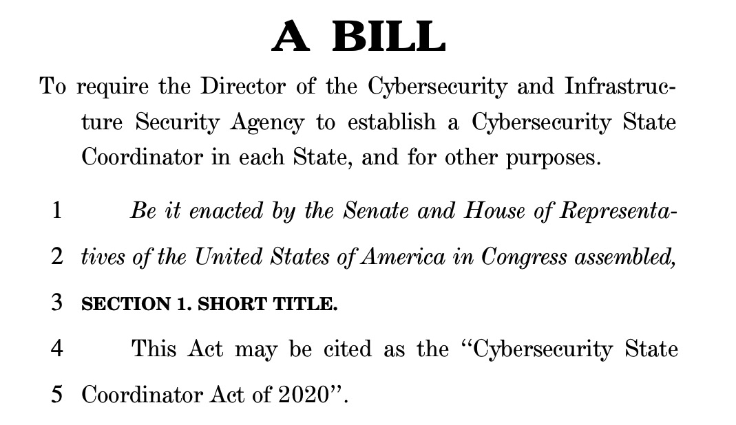image of Cybersecurity State Coordinator Act