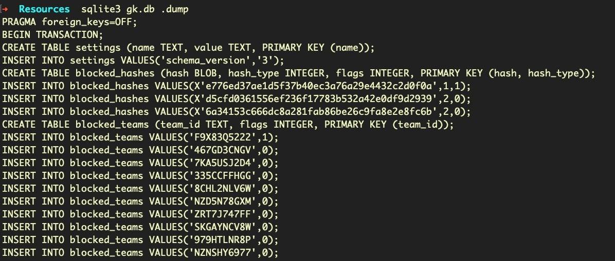 image of gk.db dump